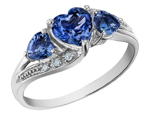 Created Sapphire Heart Ring with Diamonds 1.73 Carat (ctw) in 10K White Gold, Size 5