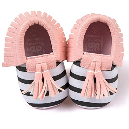 Voberry® Infant Toddlers Baby Boys Girls Soft Soled Tassel Crib Shoes PU Moccasins (0~6 Month, Pink stripe)