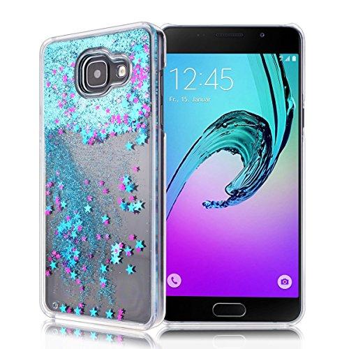 GrandEver Custodia Elegante per Samsung Galaxy A5 (2016) Trasparente Custodia Rigida Sabbie Mobili Flusso Stelle Brillano Hard Protettivo Skin PC Custodia Protettiva Shell Case Cover - Blu