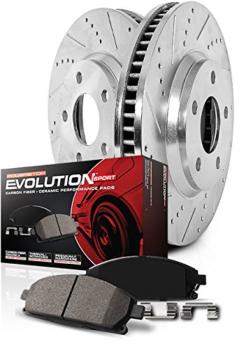 Front and Rear R1 Concepts CEX10626 Eline Series Cross-Drilled Rotors And Ceramic Pads Kit