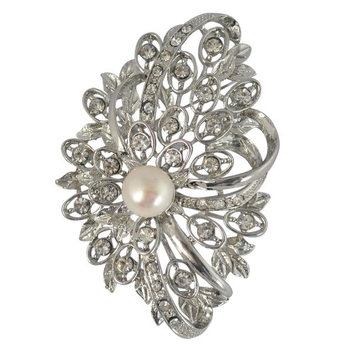 Pearl Crystal Brooch Pin,Pearl Brooch,Mother's Gift, Gift Jewelry - 10-11mm White Fresh Water Pearl And White Crystal Brooch (BR0104)