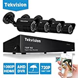 Tekvision® 8CH 720P HD DVR Security Camera System Outdoor Surveillance Kit with 4 Weatherproof High Resolution Day&Night IR Cut CCTV Bullet Cameras, QR Code Quick View, No HDD