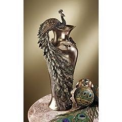 Design Toscano WU10505 Peacock Centerpiece Sculptural Vase