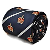 Frederick Thomas navy tie with crown design and white stripe with signature floral design to the rear