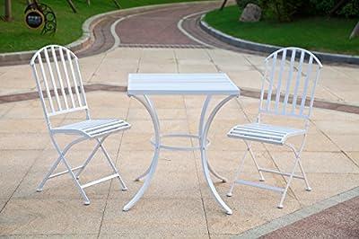 NEUN WELTEN, Square Patio Chairs and Table for Garden, Folding Design Garden Furniture Set, Metal
