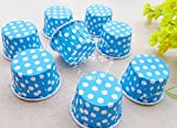 8 Color Wiredrawn Edge Film Paper Baking Cups Liner Muffin Cupcake Case (blue)
