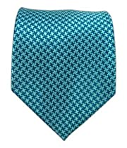 100% Silk Woven Teal and Aqua Big Tooth Patterned Tie