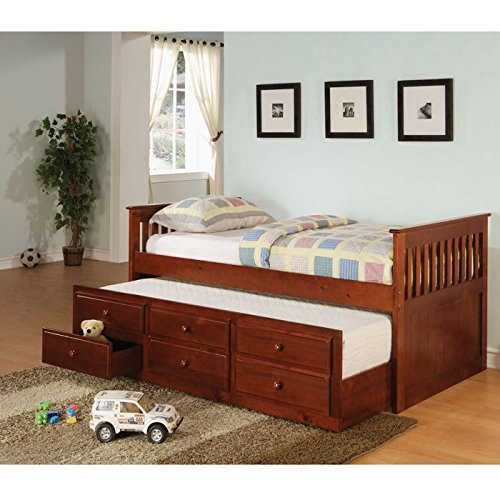 La Salle Captain's Bed with Trundle and Storage Drawers (Wood Trundle Bed compare prices)