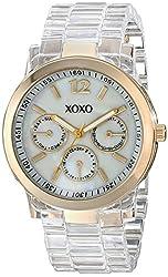 XOXO Women's XO5515 Clear Bracelet with Gold Case Watch