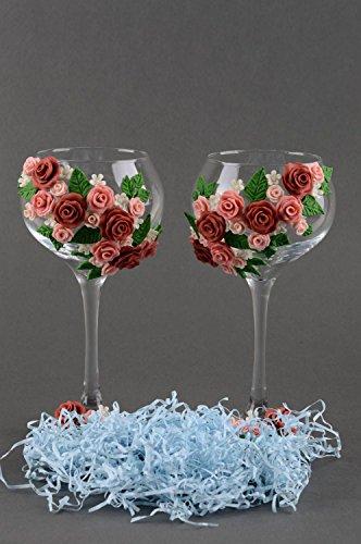 Coupes à champagne fait main Vaisselle en verre Cadeau mariage avec roses 2 pcs