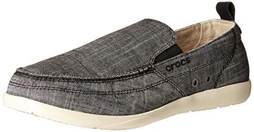 crocs Men's Walu Chambray M Slip-On Loafer, Charcoal/Stucco,