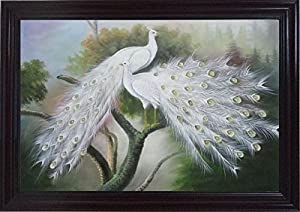 Two White Peacocks on Old Tree Large Oil Painting, with Dark Cherry Wood Frame 29x41 Inch