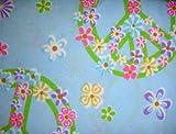 Morgan Kids Flower Power Blue Twin Sheet Set Floral Peace Sign Sheets