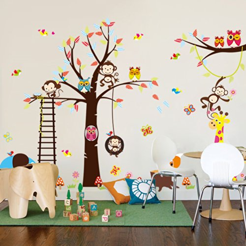 Animal Paradise Zoo Giraffe Monkey Tree Diy Removable Wall Decal For Living Room Nursery Baby Children'S Room Vinyl Wall Sticker Art Home Decoration front-1057770