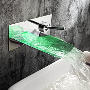 Ouku 174 Chrome Finish Color Changing Led Waterfall Wall