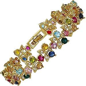 Rhinestone Round Cut Multi-Color Tennis Statement Gift 18K GP Fashion Bracelet