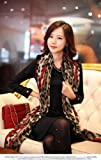 TPT Latest New Design Ladies Pink Heart Pattern Leopard Print Scarf (Wine Red)
