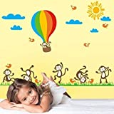 StickersKart Wall Stickers Nursery Happy Monkeys with Parachute (Multi-Colour...-7121