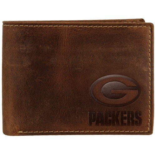 Fossil Green Bay Packers Brown Leather Traveler Bifold Wallet