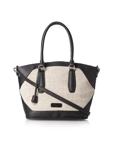 London Fog Women's Avery Linen Shoulder Bag  [Black]