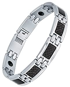"""Stainless Steel Men's Black Carbon Fiber and Hematite Magnetic Therapy Polished Link Bracelet 8.3"""" G7038TJ by Arco Iris Jewelry"""