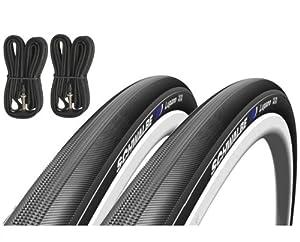 Schwalbe Lugano 700c x 23 Road Racing Bike Tyres (Pair) & Presta Inner Tubes - Black from Schwalbe