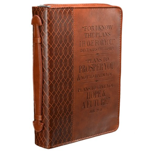 Vintage Leather Look Jeremiah Verse Bible Book Cover Large: Jeremiah 29:11 Two-tone Bible / Book Cover (Medium)