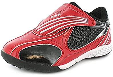 Childrens Touch Fastening Patent Astro Turf/Football Trainers. - Red/Silver - UK SIZE 8