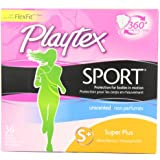 Playtex Sport Tampons, Unscented Super Plus Absorbency, 36 count