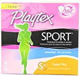 Playtex Sport Tampons with Flex-Fit Technology, Super Plus, Unscented - 36 Count