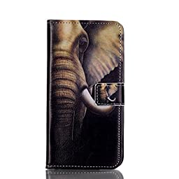 Galaxy S7 Cover Case, SAVYOU S7 Phone Painted Relief Wallet Case Flip PU Leather Wallet Flip Case Stand Cover Case for Samsung Galaxy S7 (Big ears elephant)