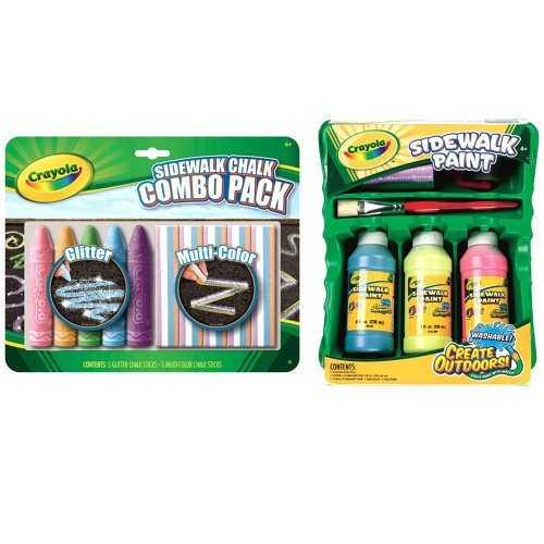 Crayola Sidewalk Chalk And Paint Summer Fun Art Bundle Including Sidewalk Chalk Combo Pack And Neon Sidewalk Paint Tray For Big, Bright Outdoor Art - Nineteen Pieces In All front-1007676