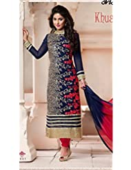 Fabfiza Blue Georgette Embroidered Semi-stitched Straight Suit