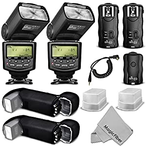 Altura Photo E-TTL Auto-Focus Dedicated Flash Kit Studio Set (AP-C1001) for Canon DSLR Cameras including EOS 70D, 60D, SL1, Rebel T5i, T4i, T3i, T2i, T1i, T5, T3, XT, XSi, XSi - Includes: 2 Altura Photo Speedlite Flashes + Wireless Flash Trigger with Remote Control Function (1 Transmitter, 2 Receivers) + Cable-C Cord + 2 Protective Pouches + 2 Hard Flash Diffusers + MagicFiber Microfiber Lens Cleaning Cloth