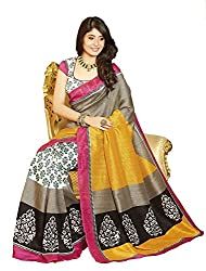 Kabeer Creation Yellow Art Silk Printed Saree