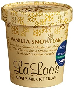 Laloo's Goat's Milk Ice Cream, Vanilla Snowflake, 16-Ounce Tubs (Pack of 4)