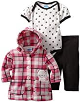 Bon Bebe Baby-girls Newborn Plaid Kitten 3 Piece Fleece Jacket And Pant Set, Pink Plaid, 3-6 Months