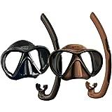 Mares X Vu Apnea Mask + Mares Dual Snorkel Set [Brown]