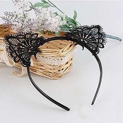 Akak Store Sexy Lovely Women Fashion Lace Cat Ears Headband Hair Accessories Black