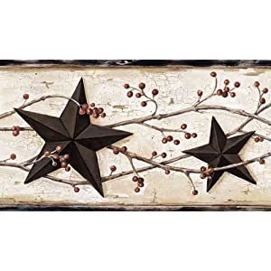 Country barn stars and berries wallpaper border