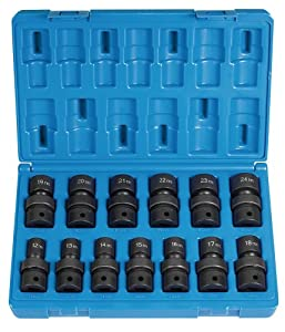 "Grey Pneumatic (1313UM) 1/2"" Drive 13-Piece Standard Length Metric Universal Socket Set"