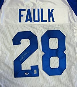 Marshall Faulk Autographed St. Louis Rams White Jersey PSA DNA
