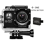 ICONNTECHS IT Full HD 1080P Sport Action Camera WIFI FHD 60 fps HDMI 14MP 170 Degree Wide Viewing Angle 2.0 Inch LCD Waterproof DV Camcorder for Extreme Outdoor Sports (Black, 2 Batteries)
