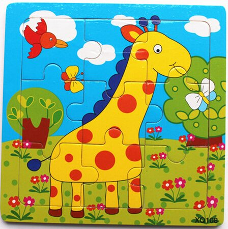 XQ108 9-piece Wooden Colorful Jigsaw Animal Puzzle, Giraffe - 1
