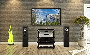 Mount-It! MI-867 Multi Level Floor Standing Audio and Video Component Stand with Four Black Glass AV Storage Shelves with Stable Metal Supports for Large Sound Equipment, Open Airflow, and Cable Management