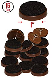 1\'\' Brown Nail-on Felt Pads - Firm Hold - Prevent Scratches on Hardwood, Ceramic and Linoleum Floors - Wood Floor Protector - Easy to Install (16 Pieces)