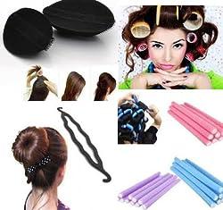 Homeoculture set of hair puff volumizer , velcro roller, 10 fem rods and Curler