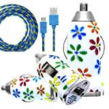 CellBig Introduces Brand New Vehical Travel iN Car Charger Adapter Compact Bullet / Capsule Shaped With Multicoloured Daisy Flowers Print On Calmy White Background Included Spicy Blue Strong Braided Flat Micro USB Synchronize Data Cable Lead Suitable For