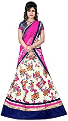 Vaidehi Fashion Women's Net Lehenga Choli (White)