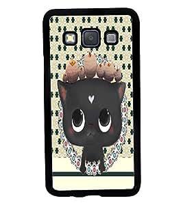 Fuson 2D Printed Cat Designer back case cover for Samsung Galaxy A3 A300F - D4370